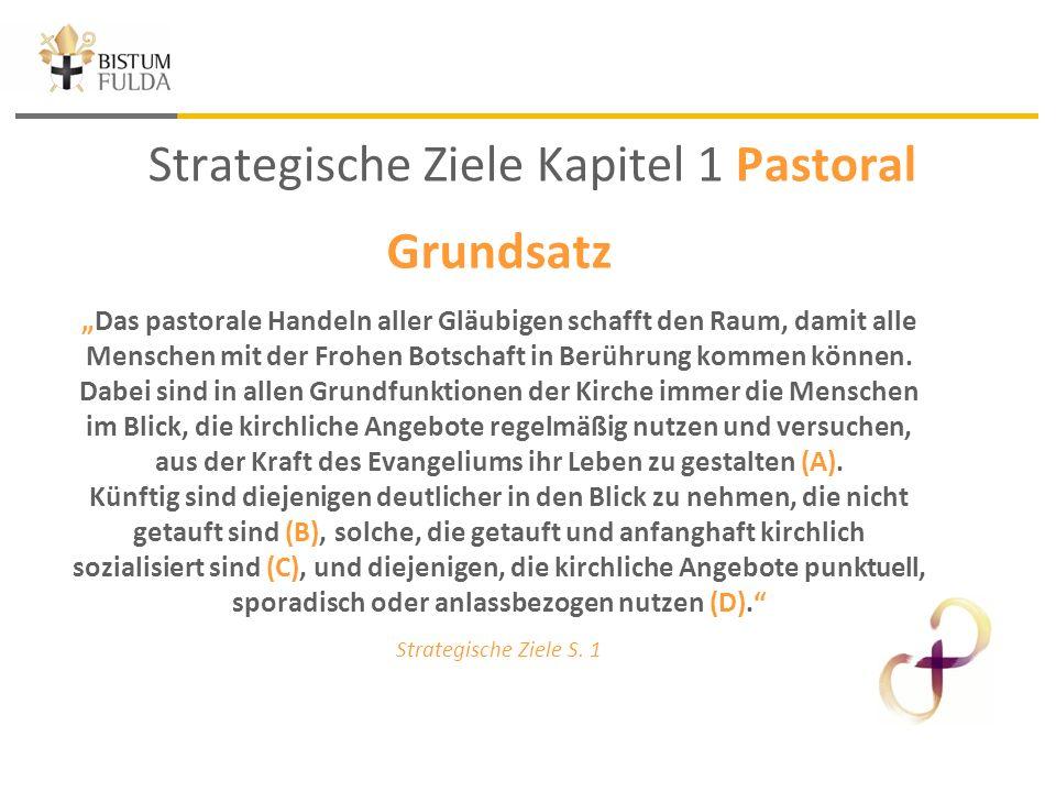 """Strategische Ziele Kapitel 1 Pastoral Grundsatz """"Das pastorale Handeln aller Gläubigen schafft den Raum, damit alle Menschen mit der Frohen Botschaft in Berührung kommen können."""