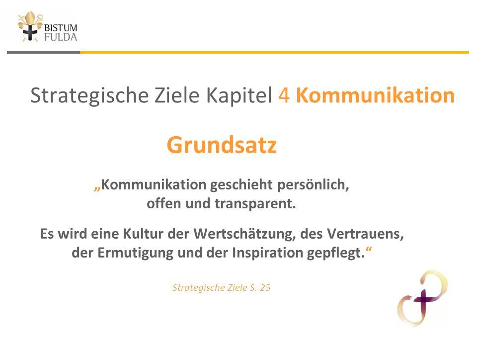 """Strategische Ziele Kapitel 4 Kommunikation Grundsatz """"Kommunikation geschieht persönlich, offen und transparent."""
