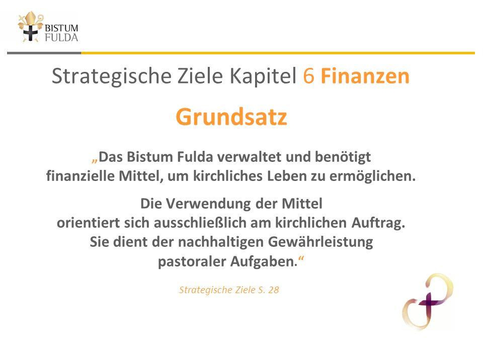 """Strategische Ziele Kapitel 6 Finanzen Grundsatz """" Das Bistum Fulda verwaltet und benötigt finanzielle Mittel, um kirchliches Leben zu ermöglichen."""