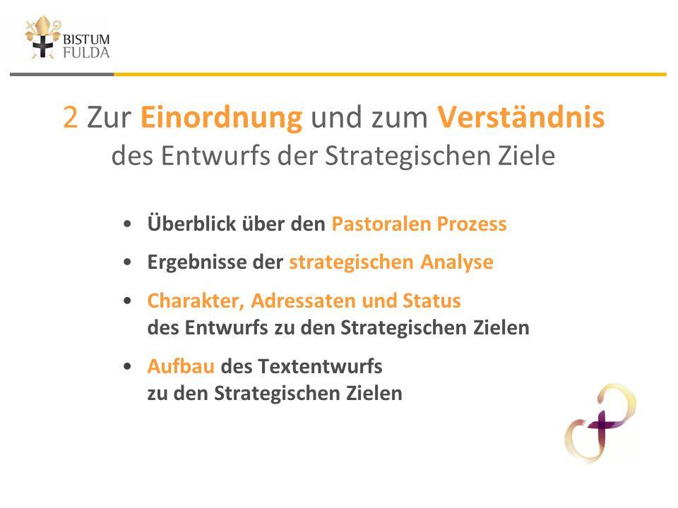 2 Zur Einordnung und zum Verständnis des Entwurfs der Strategischen Ziele Überblick über den Pastoralen Prozess Ergebnisse der strategischen Analyse Charakter, Adressaten und Status des Entwurfs zu den Strategischen Zielen Aufbau des Textentwurfs zu den Strategischen Zielen