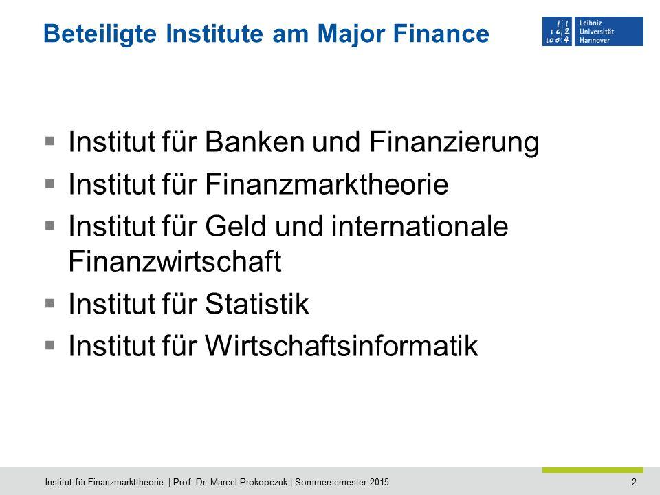 2 Beteiligte Institute am Major Finance  Institut für Banken und Finanzierung  Institut für Finanzmarktheorie  Institut für Geld und internationale
