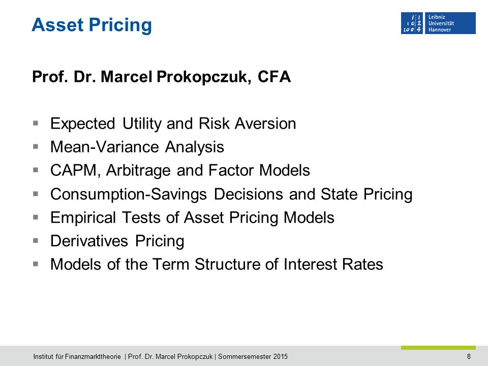 8 Asset Pricing Prof. Dr.