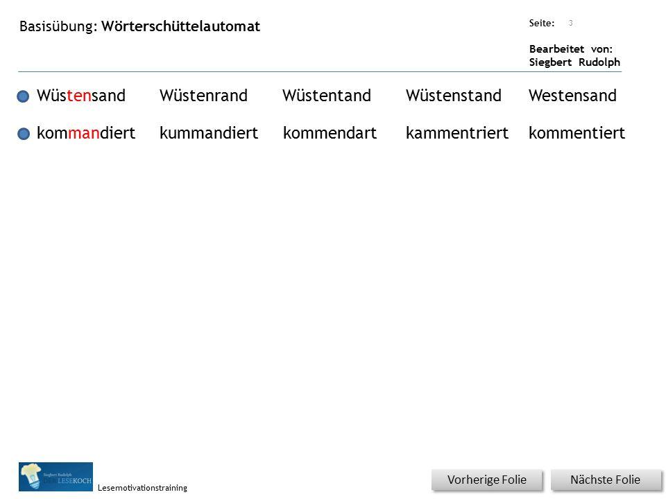 Übungsart: Seite: Bearbeitet von: Siegbert Rudolph Lesemotivationstraining Nächste Folie Vorherige Folie Basisübung: Wörterschüttelautomat 3 Wüstensan