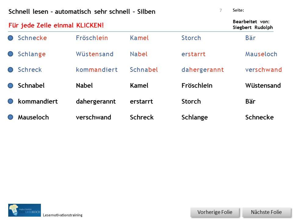 Übungsart: Seite: Bearbeitet von: Siegbert Rudolph Lesemotivationstraining Schnell lesen – automatisch sehr schnell – Silben Für jede Zeile einmal KLI