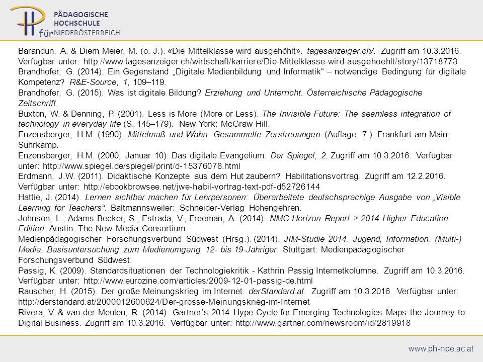 07.07.201618 07.07.201618 PÄDAGOGISCHE HOCHSCHULE NIEDERÖSTERREICH für www.ph-noe.ac.at Barandun, A.