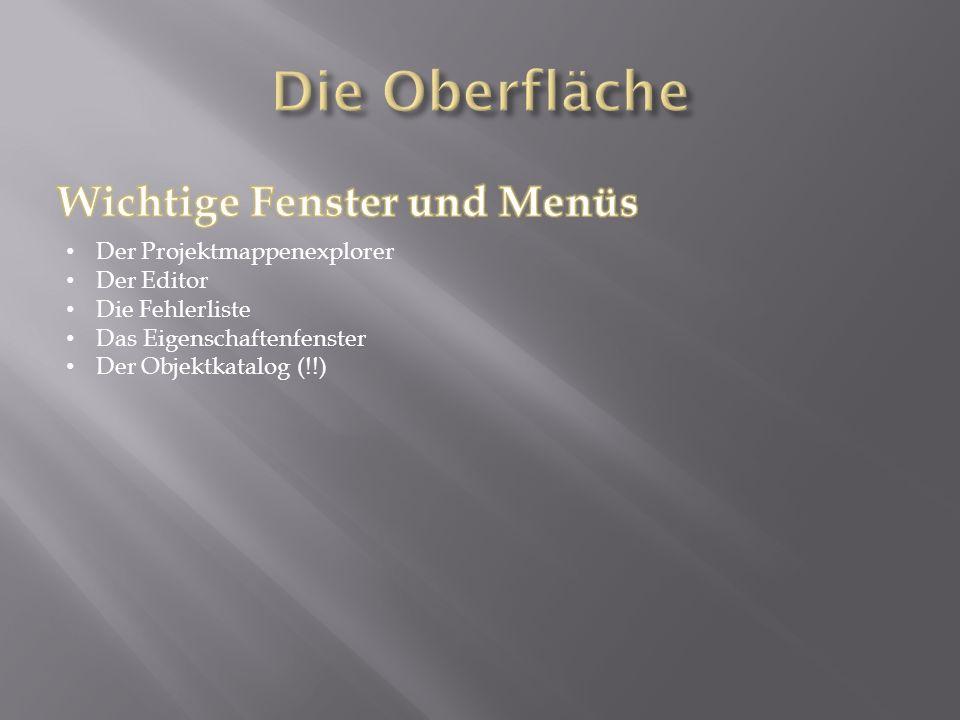 Der Projektmappenexplorer Der Editor Die Fehlerliste Das Eigenschaftenfenster Der Objektkatalog (!!)