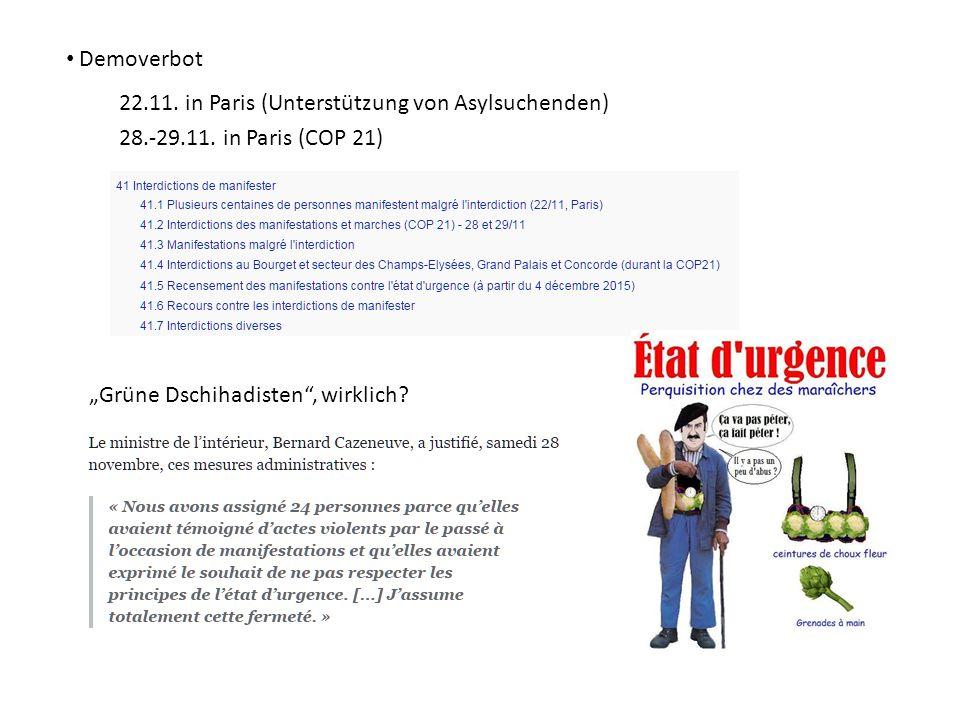 Demoverbot 22.11. in Paris (Unterstützung von Asylsuchenden) 28.-29.11.
