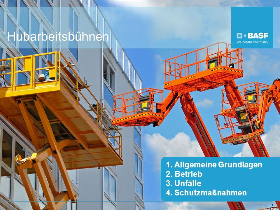 1 Hubarbeitsbühnen 1. Allgemeine Grundlagen 2.Betrieb 3. Unfälle 4. Schutzmaßnahmen