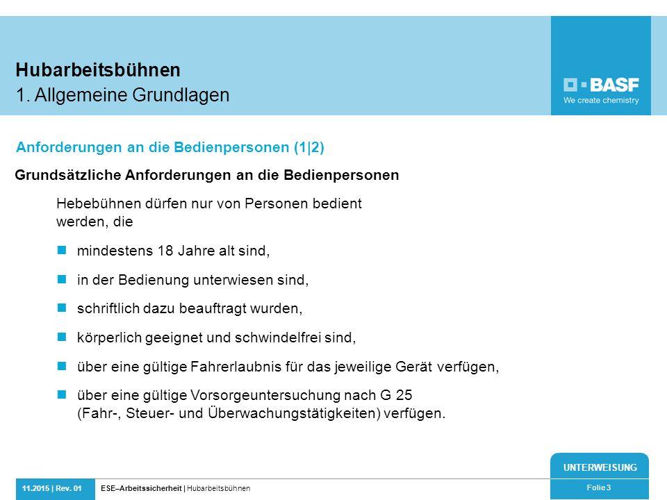 UNTERWEISUNG 11.2015 | Rev. 01ESE–Arbeitssicherheit | Hubarbeitsbühnen Folie 3 Grundsätzliche Anforderungen an die Bedienpersonen Hebebühnen dürfen nu