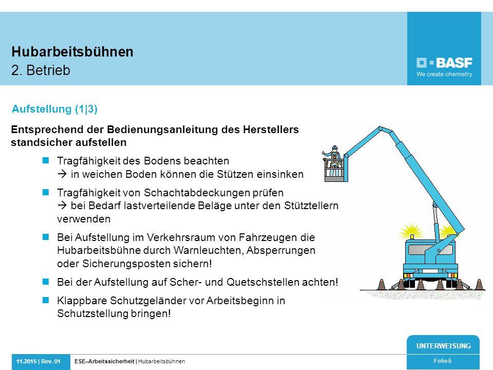 UNTERWEISUNG 11.2015 | Rev. 01ESE–Arbeitssicherheit | Hubarbeitsbühnen Folie 5 Entsprechend der Bedienungsanleitung des Herstellers standsicher aufste