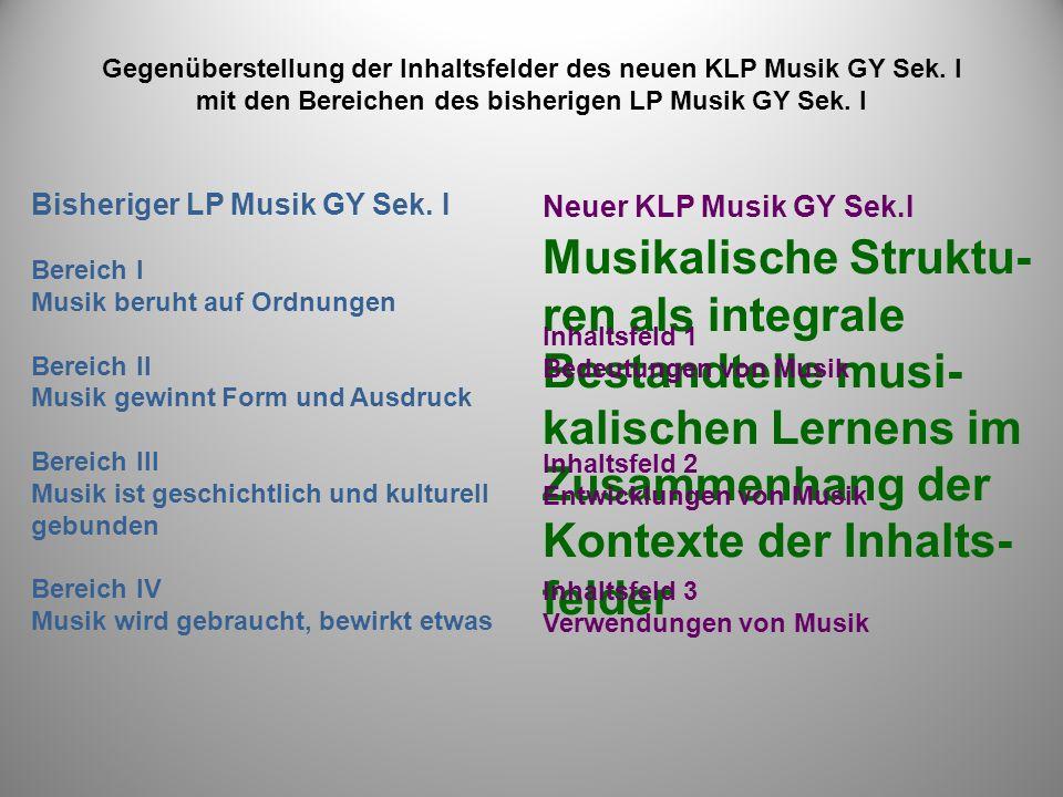 Gegenüberstellung der Inhaltsfelder des neuen KLP Musik GY Sek.