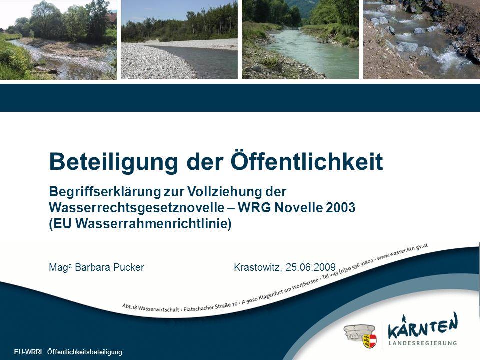 1 EU-WRRL Öffentlichkeitsbeteiligung Beteiligung der Öffentlichkeit Begriffserklärung zur Vollziehung der Wasserrechtsgesetznovelle – WRG Novelle 2003 (EU Wasserrahmenrichtlinie) Mag a Barbara Pucker Krastowitz, 25.06.2009 EU-WRRL Öffentlichkeitsbeteiligung