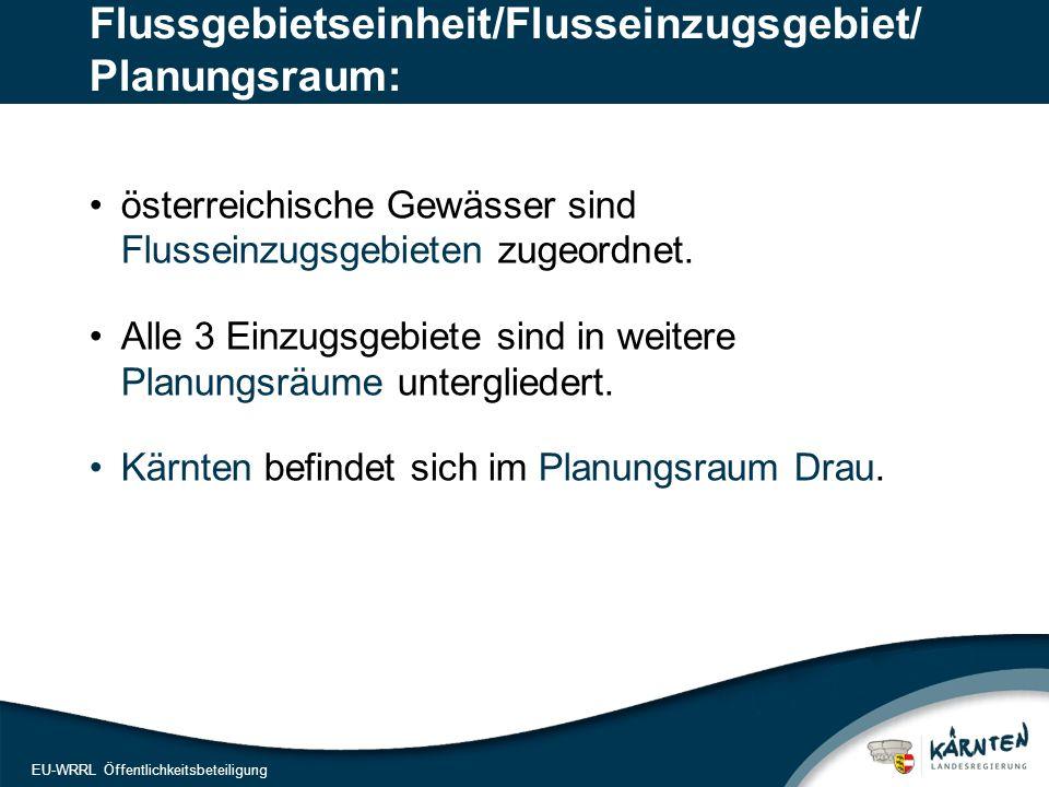 10 EU-WRRL Öffentlichkeitsbeteiligung Flussgebietseinheit/Flusseinzugsgebiet/ Planungsraum: österreichische Gewässer sind Flusseinzugsgebieten zugeordnet.