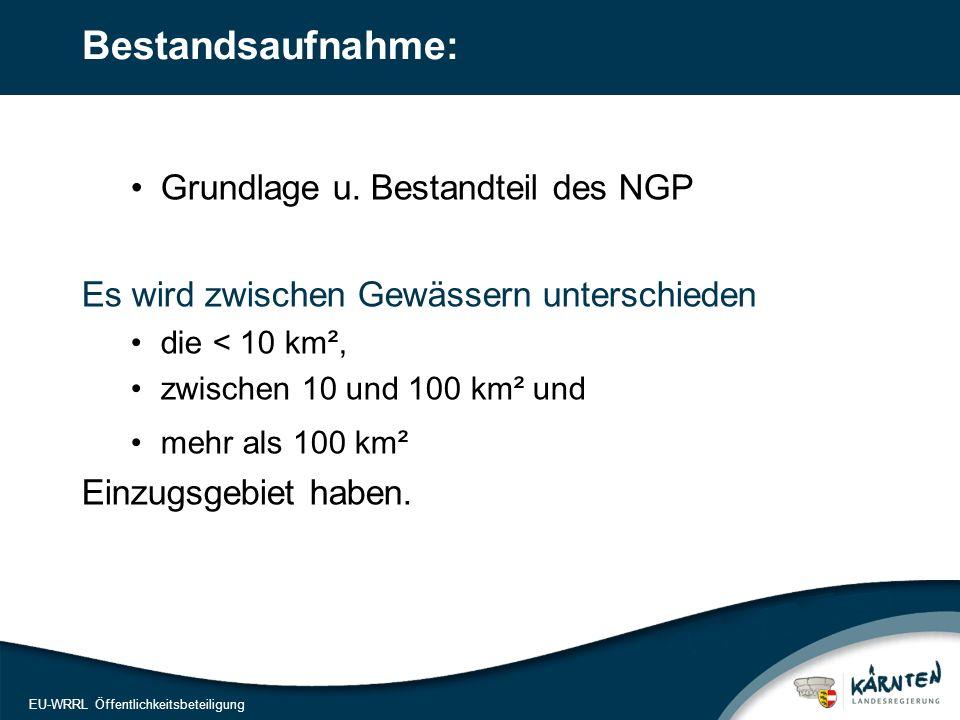 12 EU-WRRL Öffentlichkeitsbeteiligung Bestandsaufnahme: Grundlage u. Bestandteil des NGP Es wird zwischen Gewässern unterschieden die < 10 km², zwisch