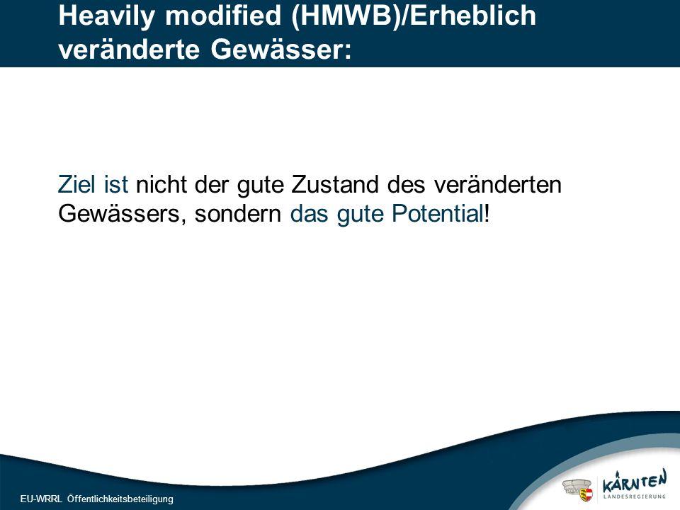 13 EU-WRRL Öffentlichkeitsbeteiligung Heavily modified (HMWB)/Erheblich veränderte Gewässer: Ziel ist nicht der gute Zustand des veränderten Gewässers, sondern das gute Potential!