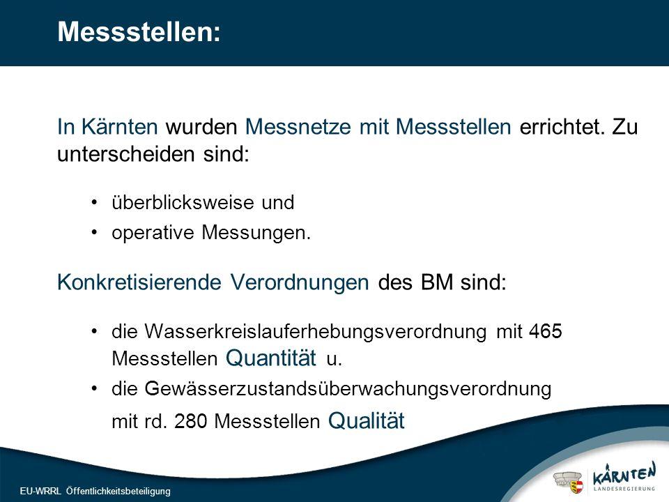 15 EU-WRRL Öffentlichkeitsbeteiligung Messstellen: In Kärnten wurden Messnetze mit Messstellen errichtet. Zu unterscheiden sind: überblicksweise und o