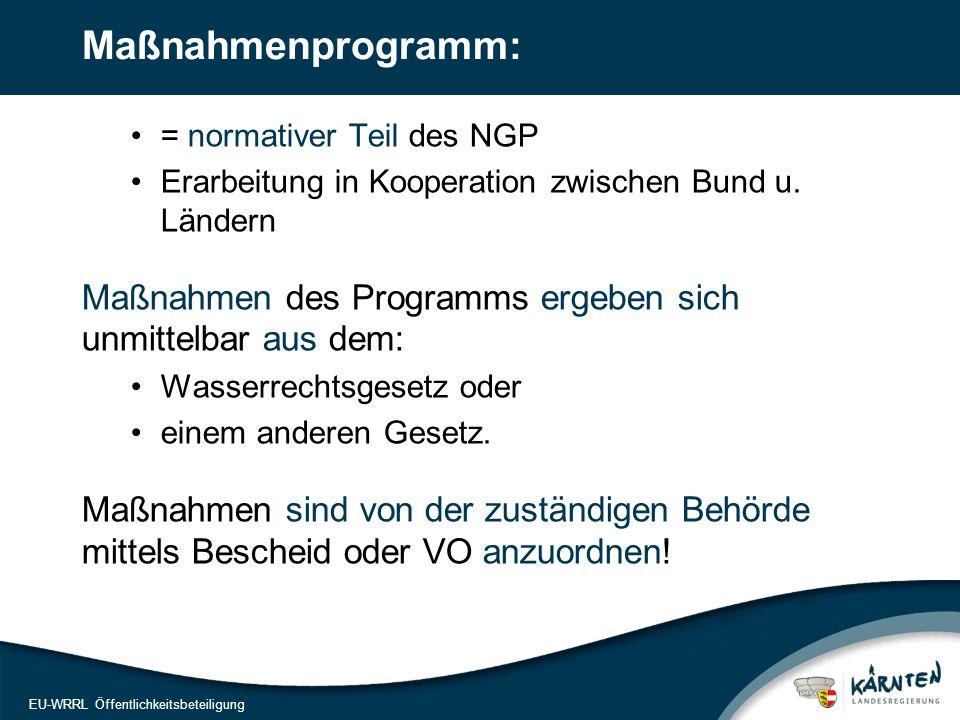 16 EU-WRRL Öffentlichkeitsbeteiligung Maßnahmenprogramm: = normativer Teil des NGP Erarbeitung in Kooperation zwischen Bund u. Ländern Maßnahmen des P