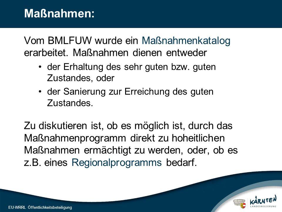 19 EU-WRRL Öffentlichkeitsbeteiligung Maßnahmen: Vom BMLFUW wurde ein Maßnahmenkatalog erarbeitet. Maßnahmen dienen entweder der Erhaltung des sehr gu