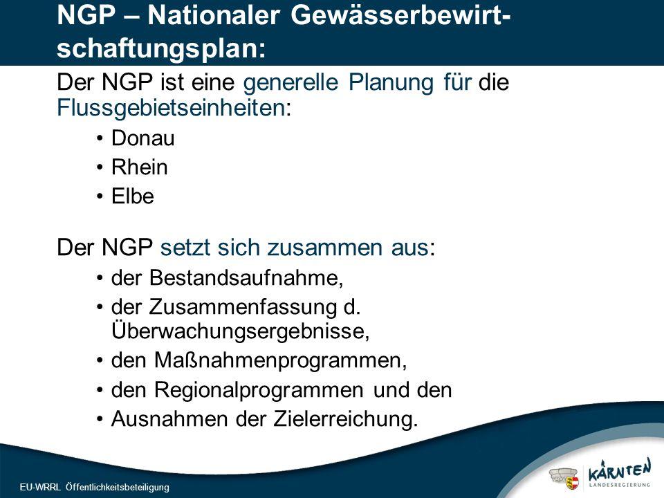 4 EU-WRRL Öffentlichkeitsbeteiligung NGP – Nationaler Gewässerbewirt- schaftungsplan: Der NGP ist eine generelle Planung für die Flussgebietseinheiten: Donau Rhein Elbe Der NGP setzt sich zusammen aus: der Bestandsaufnahme, der Zusammenfassung d.