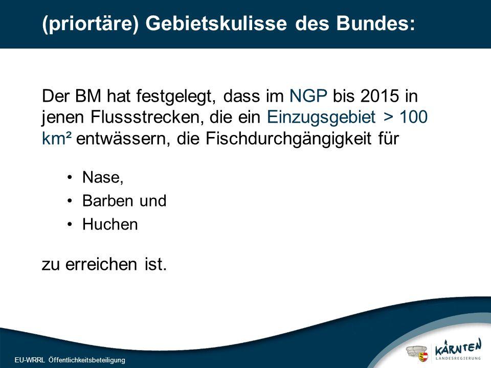 7 EU-WRRL Öffentlichkeitsbeteiligung (priortäre) Gebietskulisse des Bundes: Der BM hat festgelegt, dass im NGP bis 2015 in jenen Flussstrecken, die ei