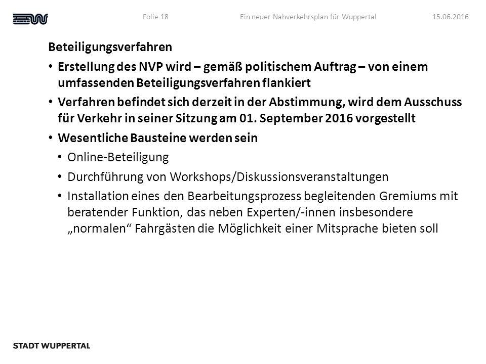 Beteiligungsverfahren Erstellung des NVP wird – gemäß politischem Auftrag – von einem umfassenden Beteiligungsverfahren flankiert Verfahren befindet sich derzeit in der Abstimmung, wird dem Ausschuss für Verkehr in seiner Sitzung am 01.