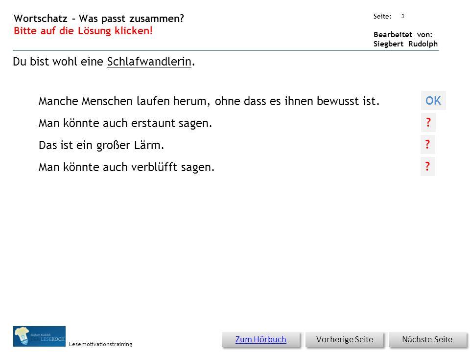 Übungsart: Seite: Bearbeitet von: Siegbert Rudolph Lesemotivationstraining 2 Wortschatz – Was passt zusammen? Bitte auf die Lösung klicken! Nächste Se