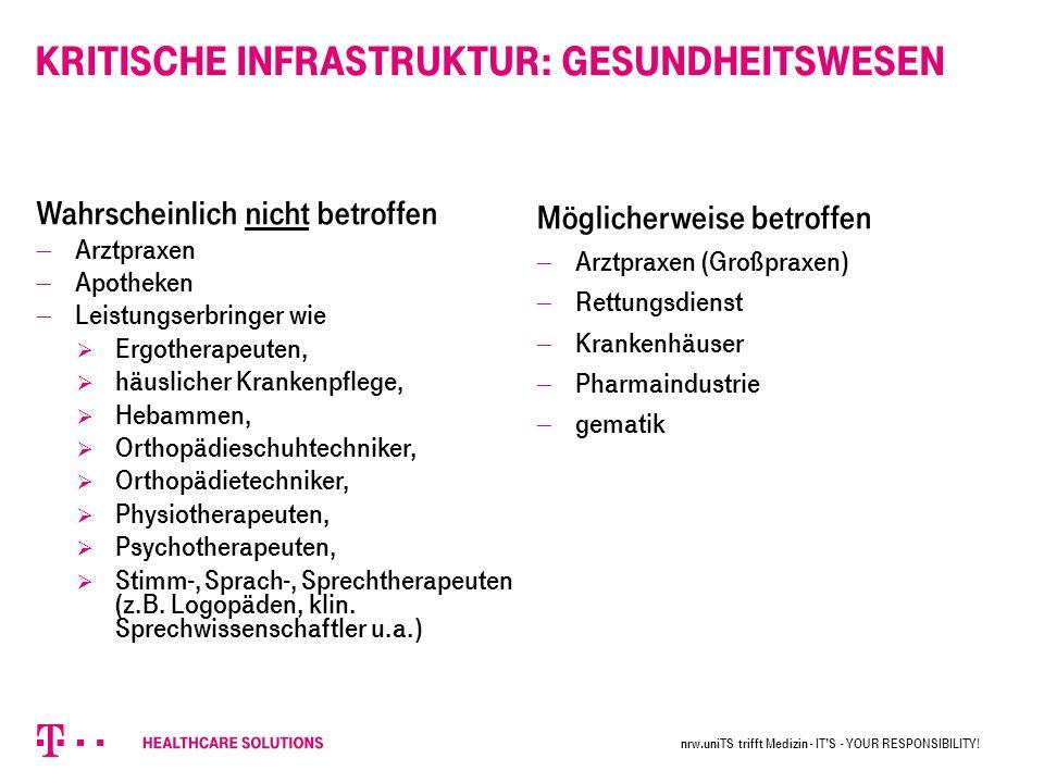 Kritische Infrastruktur: Gesundheitswesen nrw.uniTS trifft Medizin - IT'S - YOUR RESPONSIBILITY.