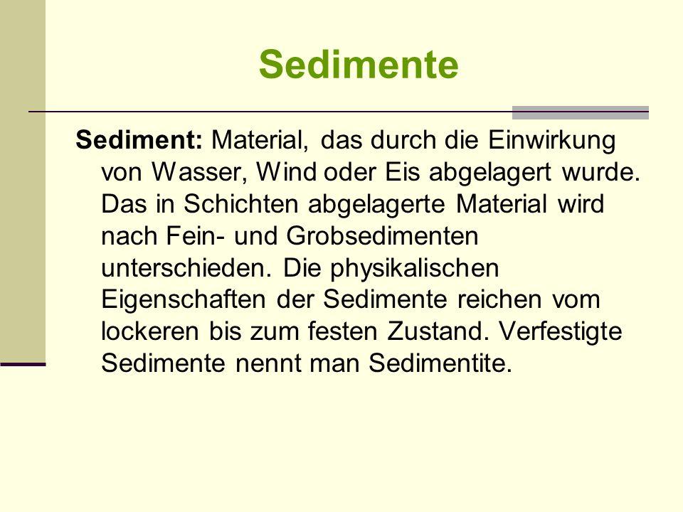Sedimente Sediment: Material, das durch die Einwirkung von Wasser, Wind oder Eis abgelagert wurde. Das in Schichten abgelagerte Material wird nach Fei