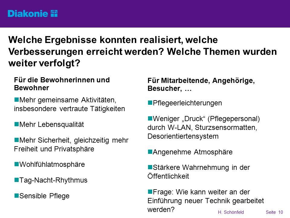 H. SchönfeldSeite 10 Welche Ergebnisse konnten realisiert, welche Verbesserungen erreicht werden.