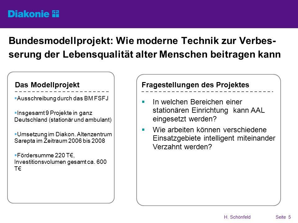 H. SchönfeldSeite 5 Bundesmodellprojekt: Wie moderne Technik zur Verbes- serung der Lebensqualität alter Menschen beitragen kann  Ausschreibung durch