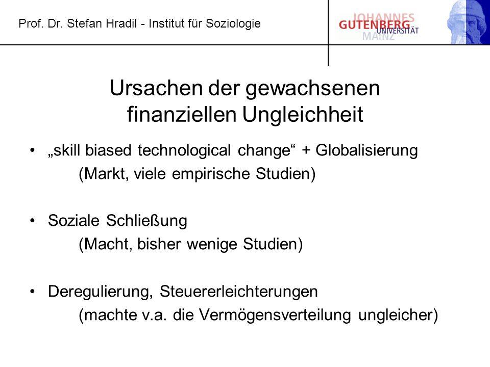 """Prof. Dr. Stefan Hradil - Institut für Soziologie Ursachen der gewachsenen finanziellen Ungleichheit """"skill biased technological change"""" + Globalisier"""