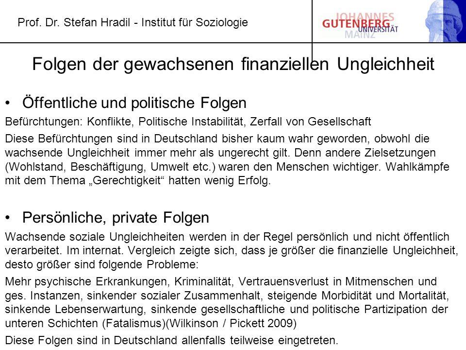 Prof. Dr. Stefan Hradil - Institut für Soziologie Folgen der gewachsenen finanziellen Ungleichheit Öffentliche und politische Folgen Befürchtungen: Ko