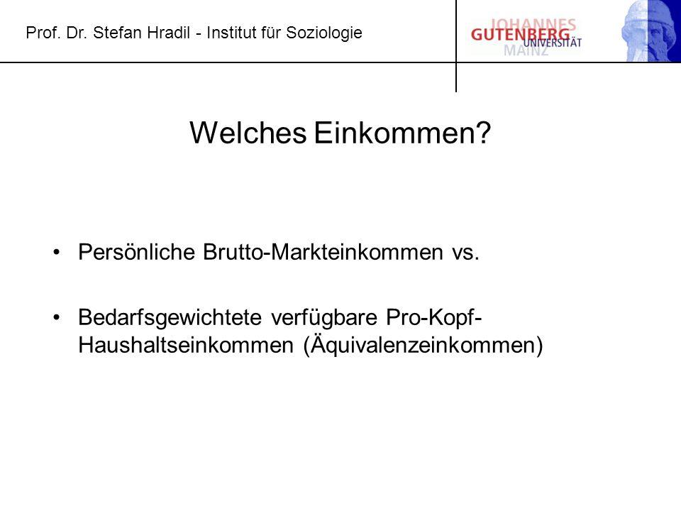 Prof. Dr. Stefan Hradil - Institut für Soziologie Welches Einkommen? Persönliche Brutto-Markteinkommen vs. Bedarfsgewichtete verfügbare Pro-Kopf- Haus