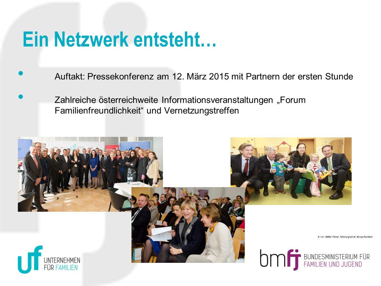 Ein Netzwerk entsteht… Auftakt: Pressekonferenz am 12. März 2015 mit Partnern der ersten Stunde Zahlreiche österreichweite Informationsveranstaltungen