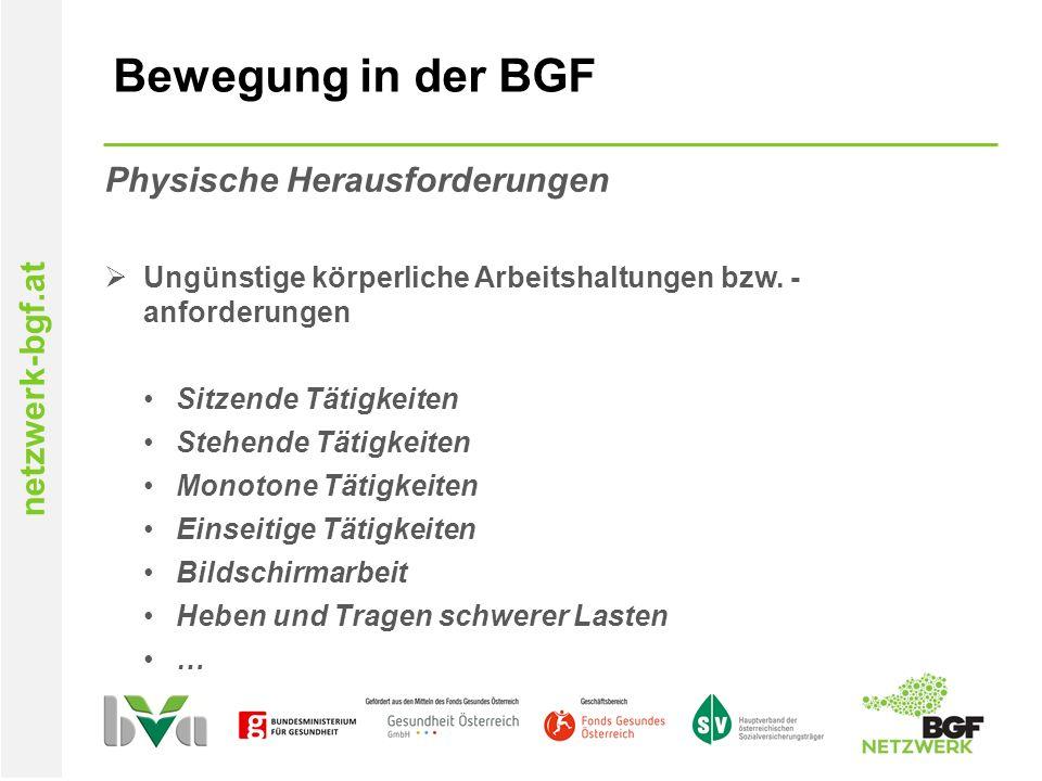 netzwerk-bgf.at Bewegung in der BGF Physische Herausforderungen  Ungünstige körperliche Arbeitshaltungen bzw.