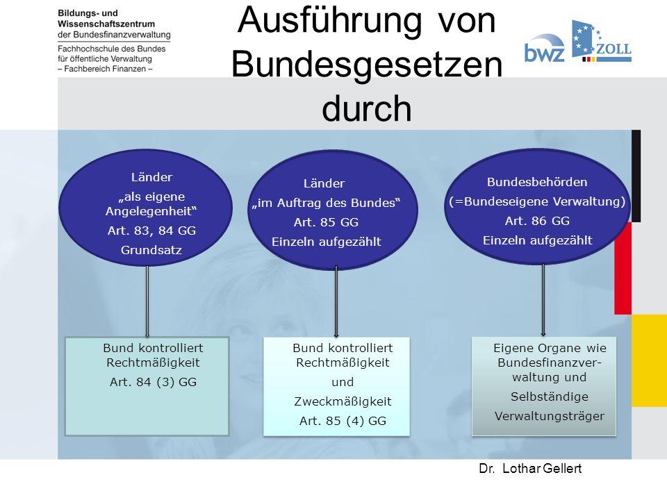 """Ausführung von Bundesgesetzen durch Dr.Lothar Gellert Länder """"als eigene Angelegenheit Art."""