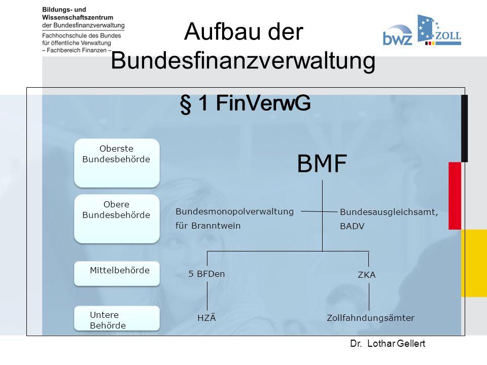 Aufbau der Bundesfinanzverwaltung § 1 FinVerwG Dr.