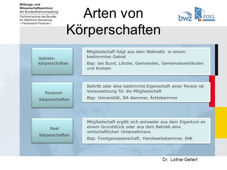 Arten von Körperschaften Dr.