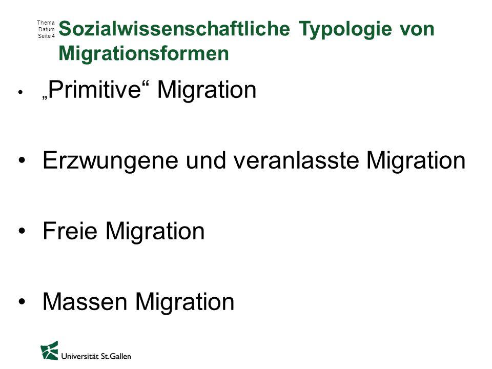 """Thema Datum Seite 4 Sozialwissenschaftliche Typologie von Migrationsformen """" Primitive"""" Migration Erzwungene und veranlasste Migration Freie Migration"""