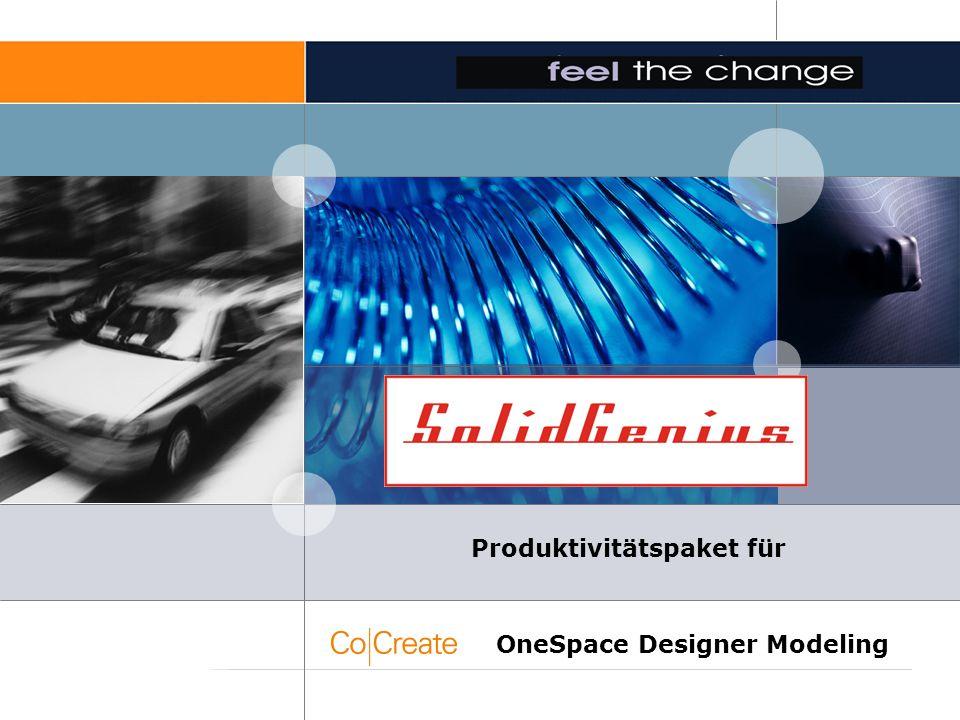 SolidGenius Produktivitätspaket für OneSpace Designer Modeling