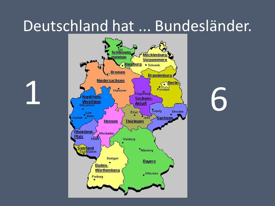Deutschland hat... Bundesländer. 1 6
