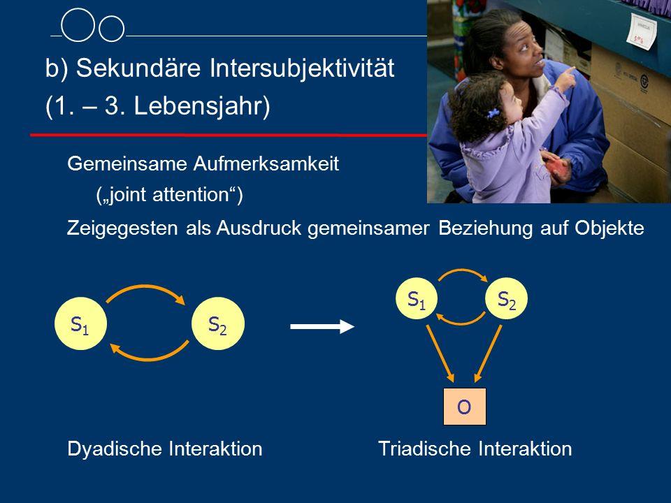 """Gemeinsame Aufmerksamkeit (""""joint attention"""") Zeigegesten als Ausdruck gemeinsamer Beziehung auf Objekte b) Sekundäre Intersubjektivität (1. – 3. Lebe"""