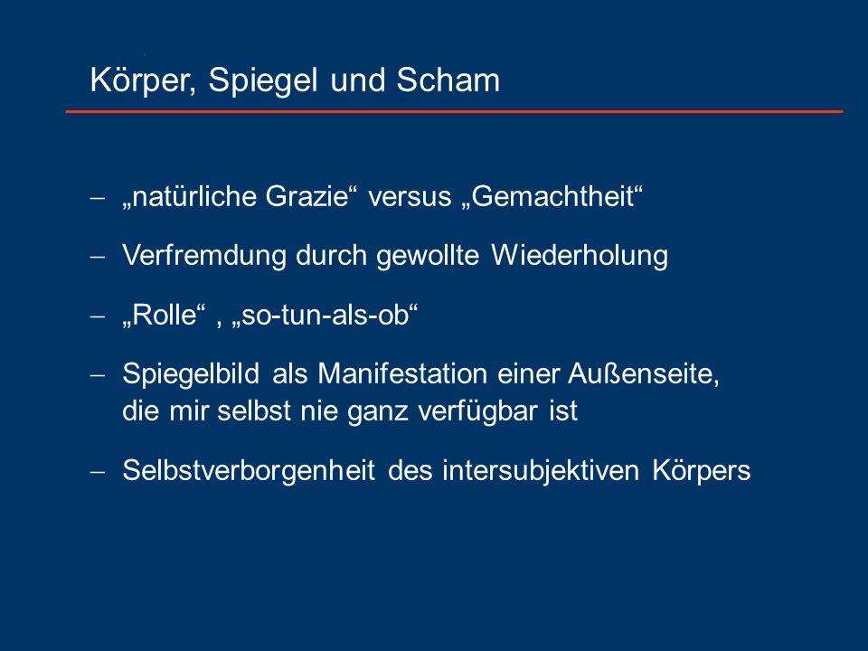 """Körper, Spiegel und Scham  """"natürliche Grazie"""" versus """"Gemachtheit""""  Verfremdung durch gewollte Wiederholung  """"Rolle"""", """"so-tun-als-ob""""  Spiegelbil"""
