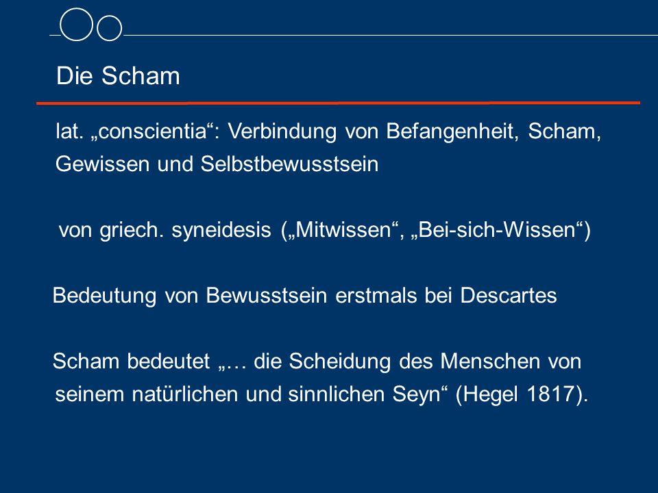 """Die Scham lat. """"conscientia"""": Verbindung von Befangenheit, Scham, Gewissen und Selbstbewusstsein von griech. syneidesis (""""Mitwissen"""", """"Bei-sich-Wissen"""