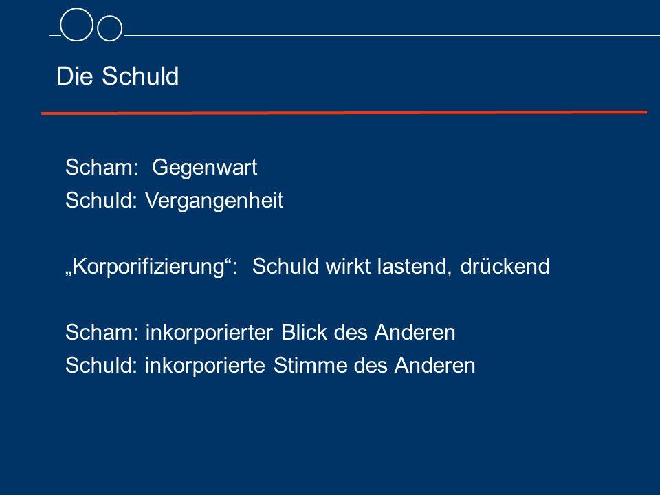 """Die Schuld Scham: Gegenwart Schuld: Vergangenheit """"Korporifizierung"""": Schuld wirkt lastend, drückend Scham: inkorporierter Blick des Anderen Schuld: i"""