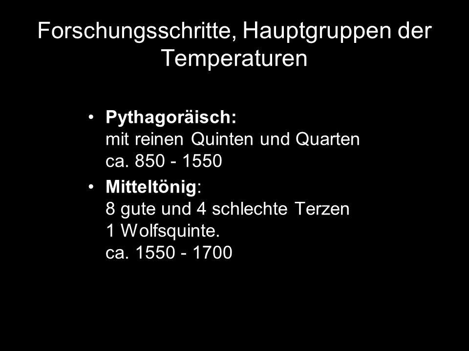 Forschungsschritte, Hauptgruppen der Temperaturen Pythagoräisch: mit reinen Quinten und Quarten ca. 850 - 1550 Mitteltönig: 8 gute und 4 schlechte Ter
