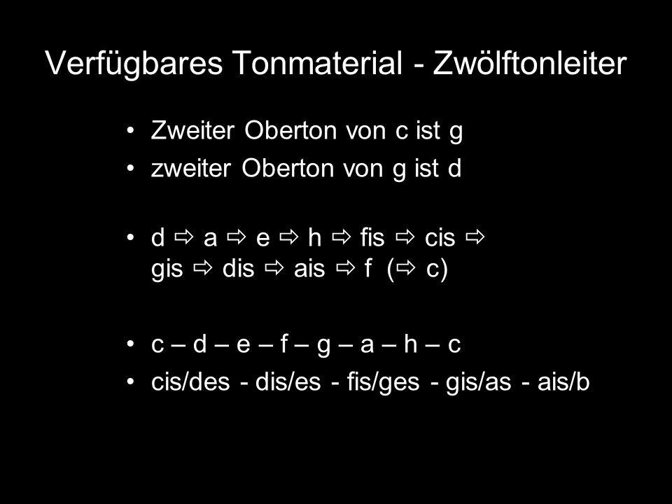 Verfügbares Tonmaterial - Zwölftonleiter Zweiter Oberton von c ist g zweiter Oberton von g ist d d  a  e  h  fis  cis  gis  dis  ais  f (  c) c – d – e – f – g – a – h – c cis/des - dis/es - fis/ges - gis/as - ais/b