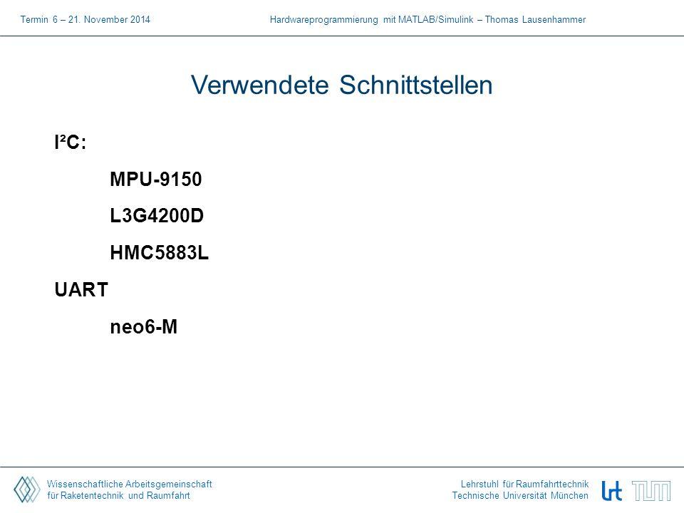 Wissenschaftliche Arbeitsgemeinschaft für Raketentechnik und Raumfahrt Lehrstuhl für Raumfahrttechnik Technische Universität München Simulink Modell – L3G4200D Termin 5 - 14.