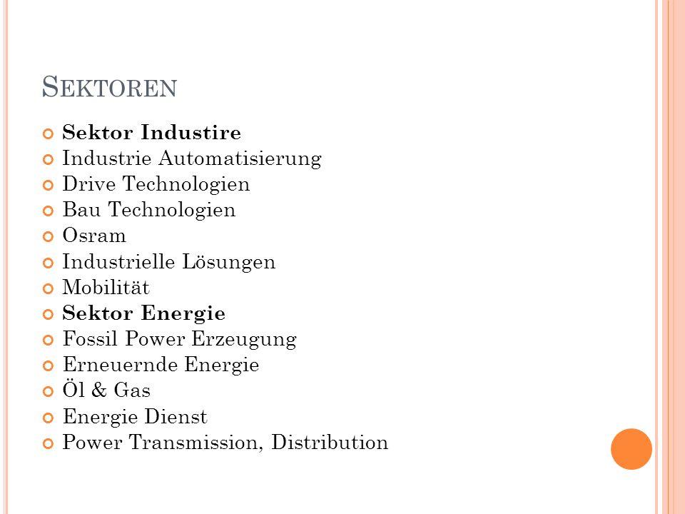 S EKTOREN Sektor Industire Industrie Automatisierung Drive Technologien Bau Technologien Osram Industrielle Lösungen Mobilität Sektor Energie Fossil Power Erzeugung Erneuernde Energie Öl & Gas Energie Dienst Power Transmission, Distribution