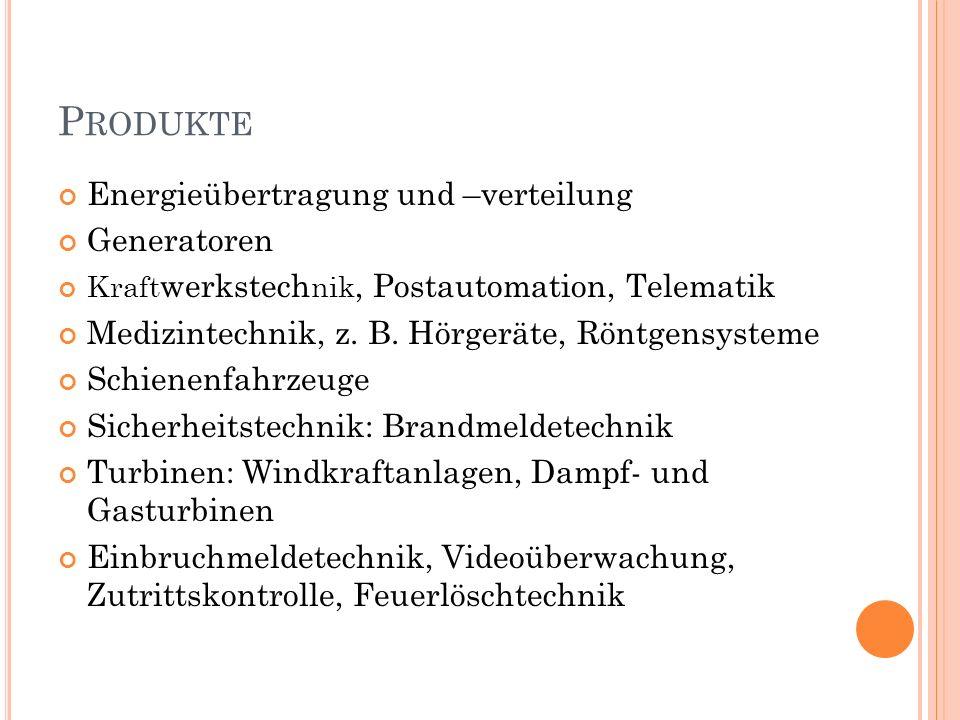 P RODUKTE Energieübertragung und –verteilung Generatoren Kraft werkstech nik, Postautomation, Telematik Medizintechnik, z.